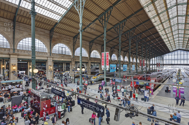 August 22, 2014: France, Paris, trains, hall, platforms, people