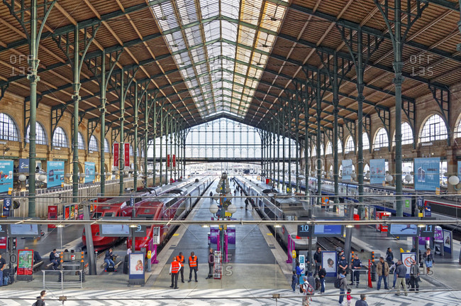 August 21, 2014: France, Paris, trains, hall, platforms, people