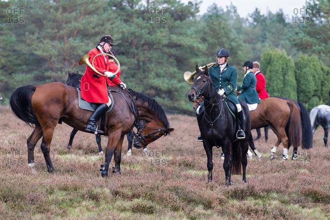 September 7, 2013: Horseback hunting in the lueneburg heath