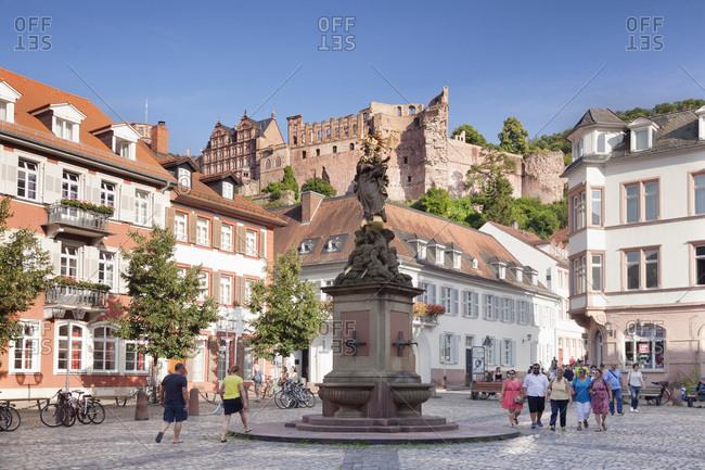 August 16, 2016: Kornmarkt (square) with castle ruins, heidelberg, baden-wurttemberg, Germany