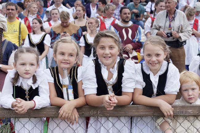 August 24, 2013: Children in traditional costumes at the Schaferlauf, markgroningen, baden-wurttemberg, Germany