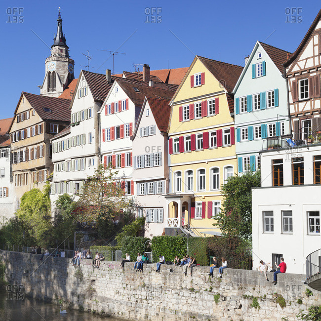 October 20, 2015: Old town of Tubingen with stiftskirche (church) on the neckar (river), Tubingen, baden-wurttemberg, Germany