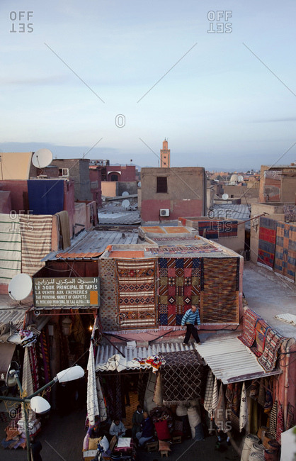 December 6, 2015: Marrakech, old town, roof, carpet, morocco