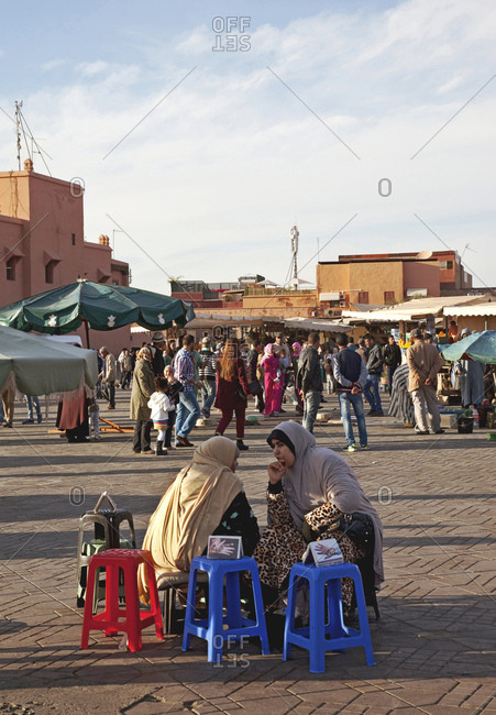 December 6, 2015: Marrakech, old town, djemaa el fna, morocco