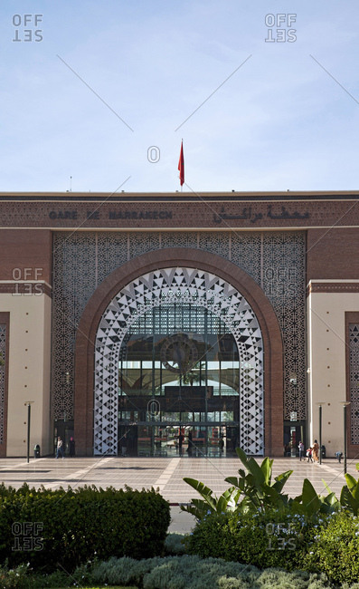 December 6, 2015: Marrakech, train station, architecture, morocco