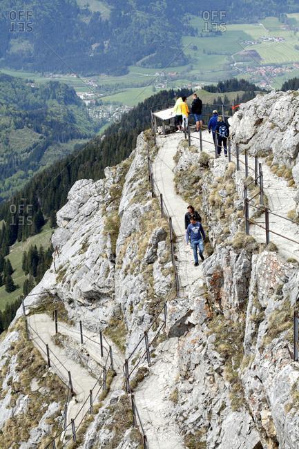 May 11, 2016: Trail with serpentines at the wendelstein, mangfall mountains, wendelstein, bayrischzell, upper bavaria, bavaria, Germany, europe