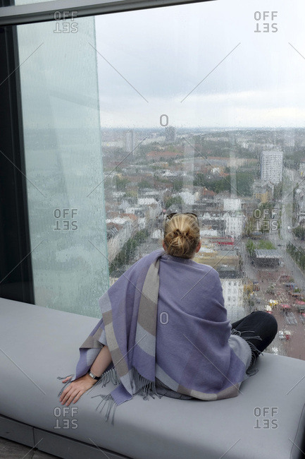 Woman, view over hamburg from the 'clouds' restaurant
