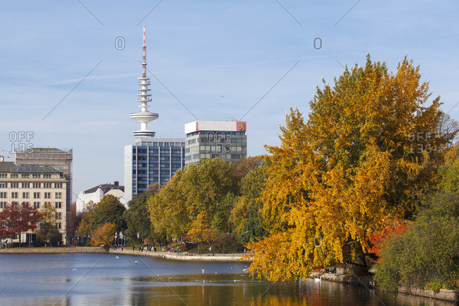 October 22, 2013: The autumnal inner alster in hamburg. in the background television tower and finland house