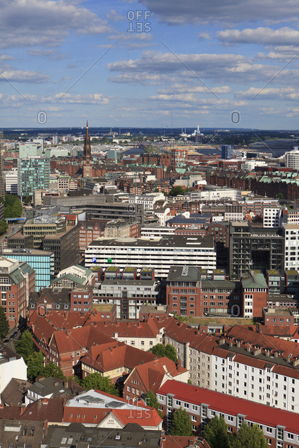 June 15, 2014: View from michel on the city of hamburg.