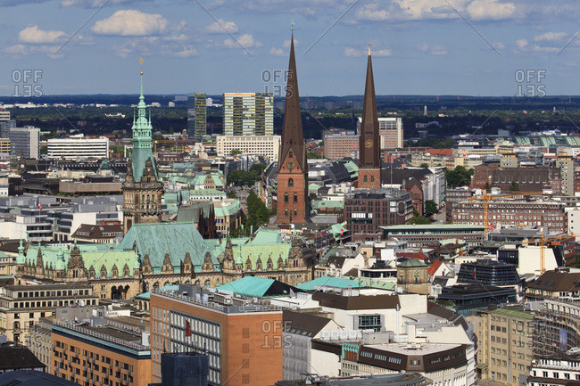 June 15, 2014: View from michel on the city of hamburg with the towers of the st. peter's church, st. jakobi church and city hall in the district hamburg old town.