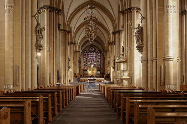 March 6, 2017: Interior view of paderborn cathedral