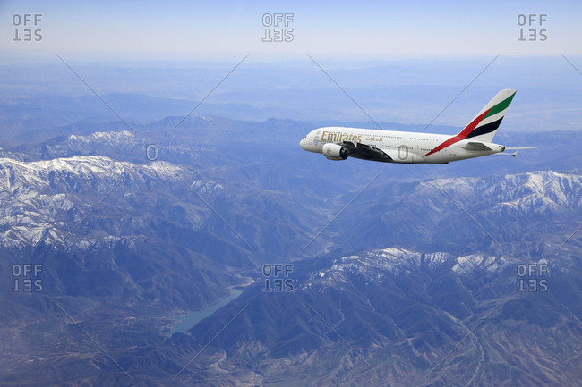 February 7, 2017: Airbus a380 emirates airlines above the alps
