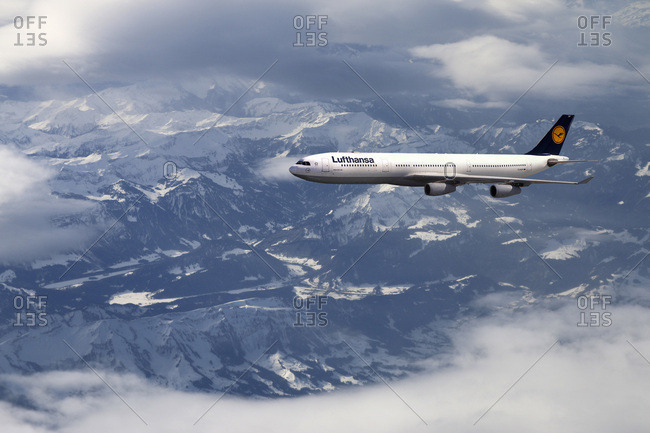 February 5, 2013: Lufthansa airbus a340 above the clouds