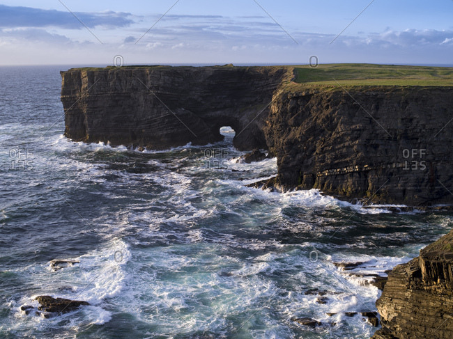 Ireland, county clare, rocky coast at the loop peninsula, rock gate, surf