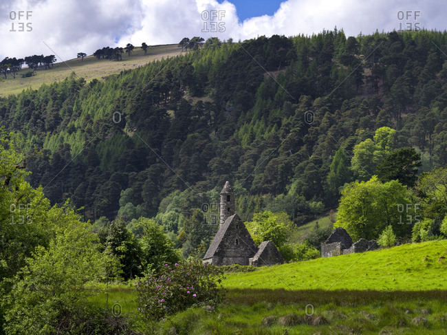 Ireland, county wicklow, monastery complex glendalough in the wicklow mountains, st. kevins kitchen