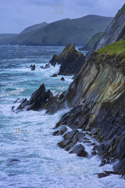 Ireland, county kerry, dingle peninsula, storm-beaten sea at the blasket sound