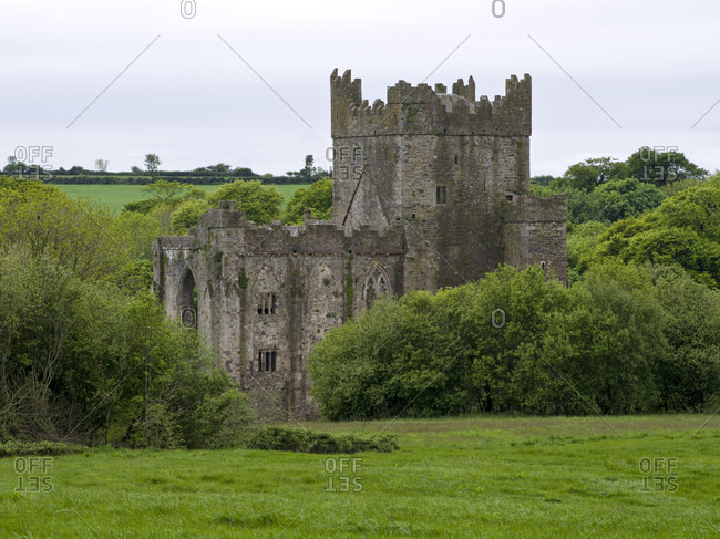 Ireland, county wexford, tintern abbey on hook peninsula, cistercian monastery from the 12th century
