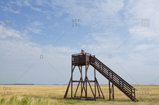 August 2, 2015: Wooden observation tower on a field