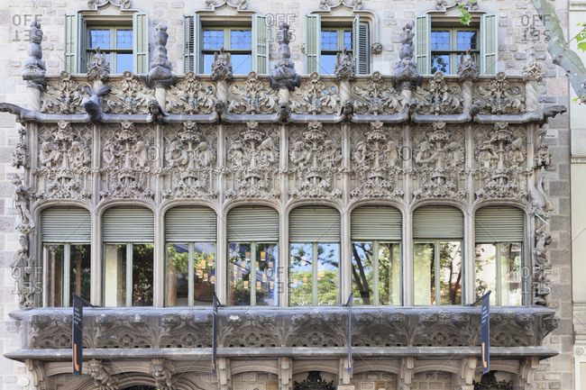 April 8, 2017: Palau baro de quadras, palace, architect josep puig i cadafalch, modernism, barcelona, catalonia, spain