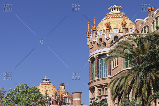 April 11, 2017: Hospital de la santa creu i sant pau, architect llui domenech i montaner, unesco world cultural heritage, modernism, eixample, barcelona, catalonia, spain