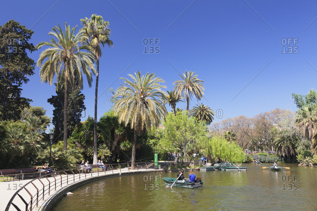 April 8, 2017: Lake in the parc de la ciutadella, barcelona, catalonia, spain