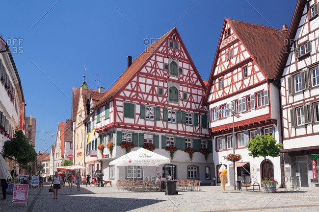 July 20, 2016: Half-timbered houses on the market square, riedlingen, upper swabia, baden-wuerttemberg, Germany