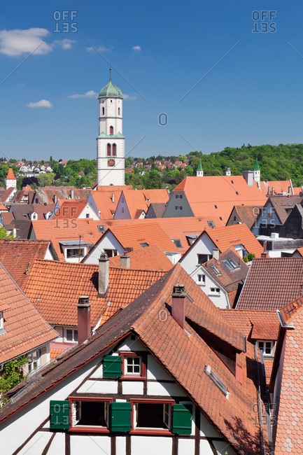 View over the old town to the church saint martin, biberach an der riss, upper swabia, baden-wuerttemberg, Germany