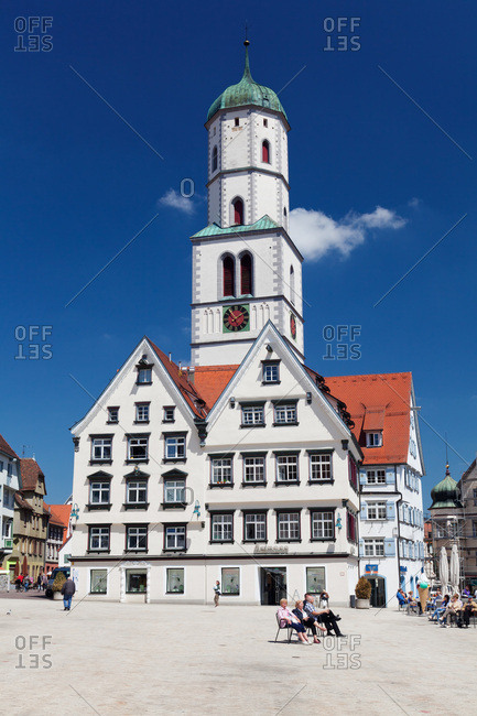 May 14, 2012: Church saint martin on the market square of biberach an der riss, upper swabia, baden-wuerttemberg, Germany