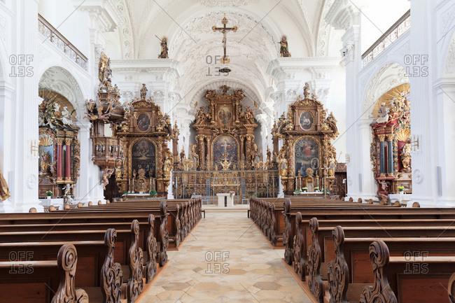 July 20, 2016: Abbey church obermarchtal, alb-donau-kreis, upper swabia, baden-wuerttemberg, Germany