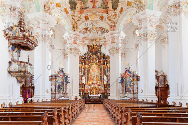 June 22, 2016: Church saint peter and paul, steinhausen, upper swabian baroque route, upper swabia, baden-wuerttemberg, Germany