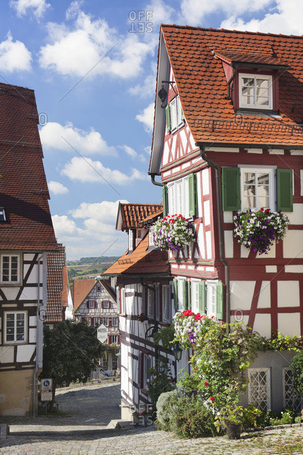 September 20, 2011: Lane and half-timbered house in the old town of herrenberg, baden-wuerttemberg, Germany