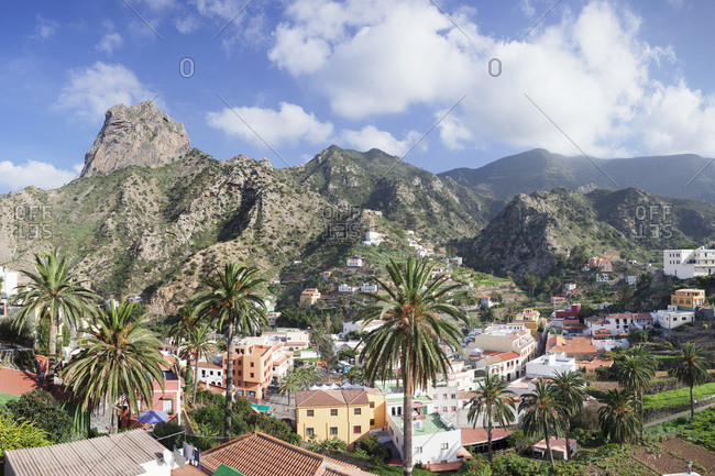 View above vallehermoso to roque cano, la gomera, canary islands, spain