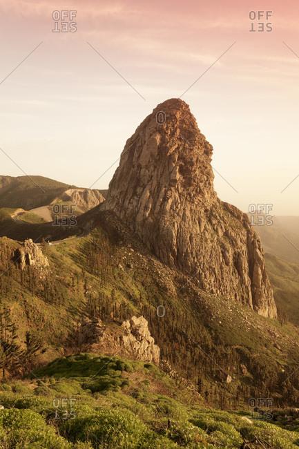Roque de agando, degollada de agando, la gomera, canary islands, spain