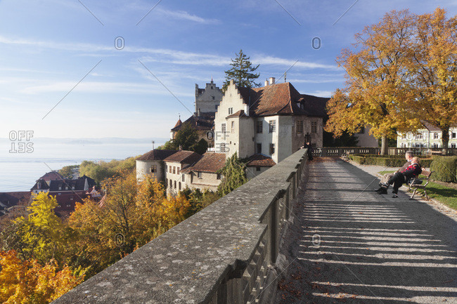 October 29, 2010: Observation terrace at the new castle, meersburg, lake constance, baden-wuerttemberg, Germany