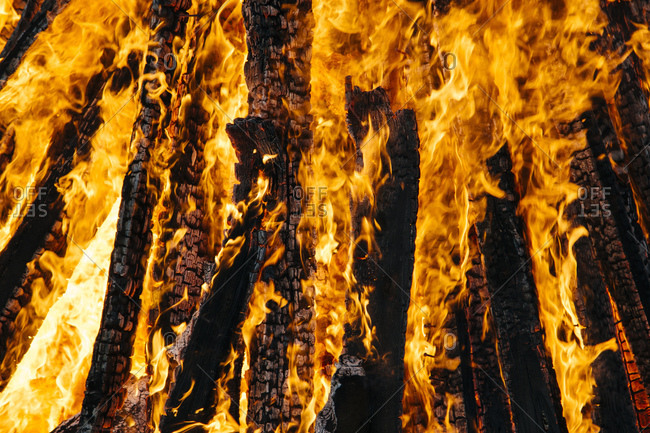 Extreme close-up of easter campfire