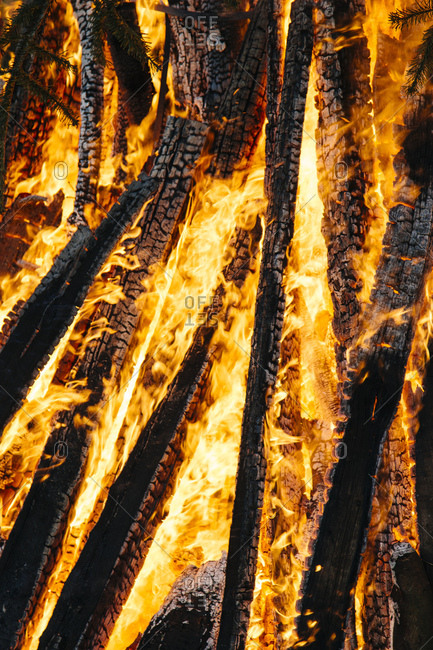 Close-up of logs burning in easter campfire