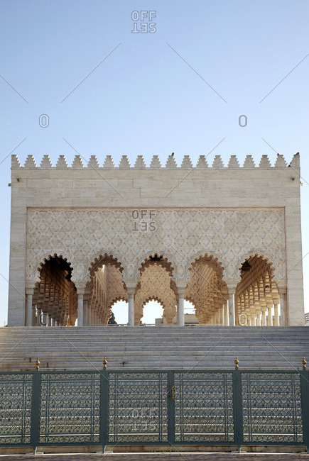 Mausoleum on a bright day in rabat, morocco