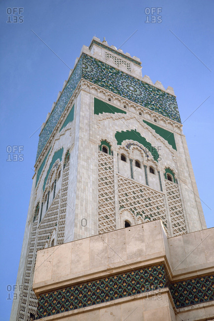 Casablanca, mosque, architecture, morocco on a sunny day