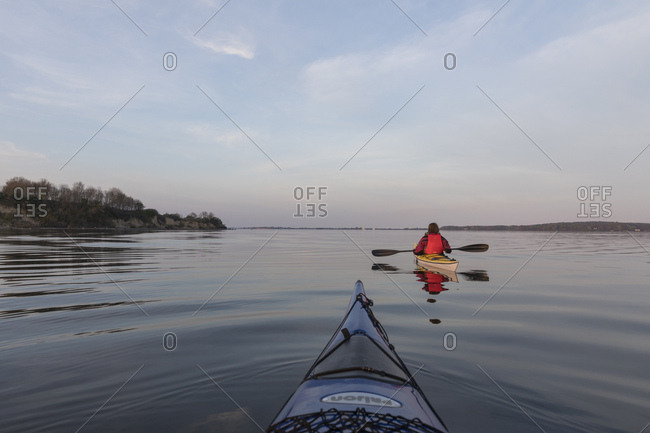 May 6, 2017: Denmark, south denmark, flensburg fjord, evening mood with kayaker
