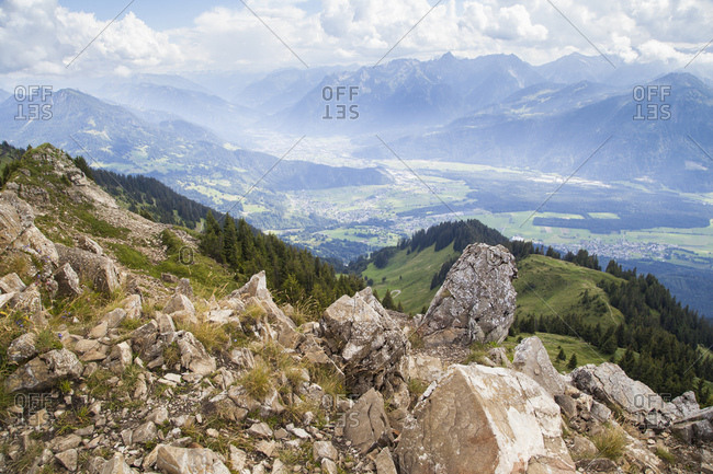 The alps with view from the hochgerach in the valley in the region vorarlberg,
