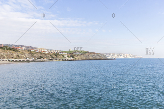 The coast between dover and folkstone in the county kent, great britain,
