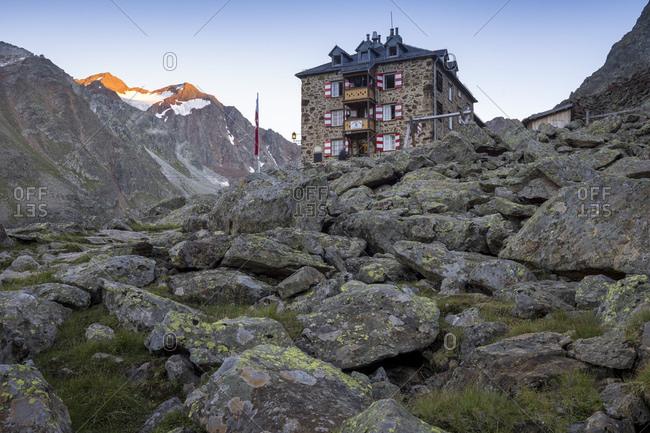 August 24, 2016: Austria, tyrol, the stubai alps, nuremberg hut in the stubai early in the evening