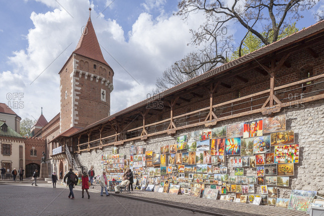 April 23, 2017: City wall with town tower, cracow, lesser poland, poland, europe