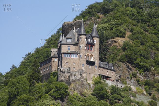 Castle katz near st. goarshausen, unesco world heritage upper middle rhine valley, rhineland-palatinate, Germany, europe