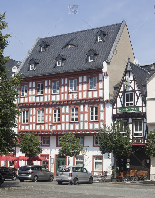 July 4, 2015: Historical half-timbered house in the old town, boppard, unesco world heritage upper middle rhine valley, rhineland-palatinate, Germany, europe