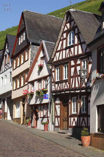 July 6, 2015: Half-timbered houses in the old town, bacharach on the rhine, unesco world heritage upper middle rhine valley, rhineland-palatinate, Germany, europe