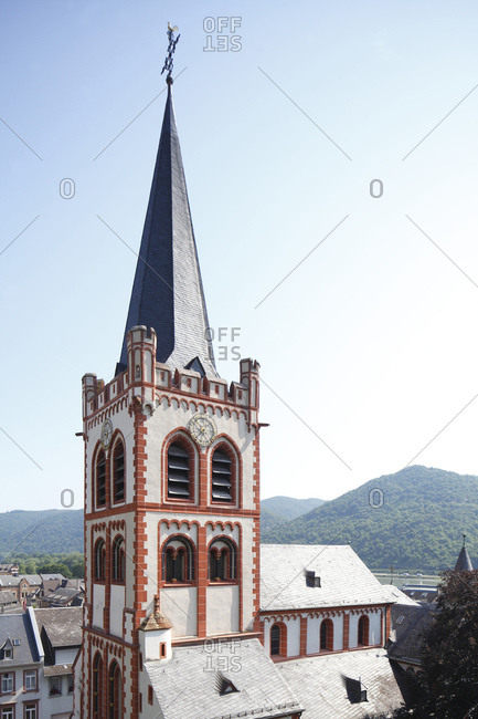 Old town with st. peter's church, bacharach on the rhine, unesco world heritage upper middle rhine valley, rhineland-palatinate, Germany, europe