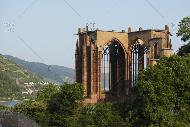 Ruin of the werner chapel, bacharach on the rhine, unesco world heritage upper middle rhine valley, rhineland-palatinate, Germany, europe