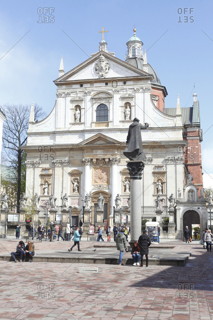 April 21, 2017: Roman catholic st. peter and paul church, stare miasto old town, cracow, lesser poland, poland, europe