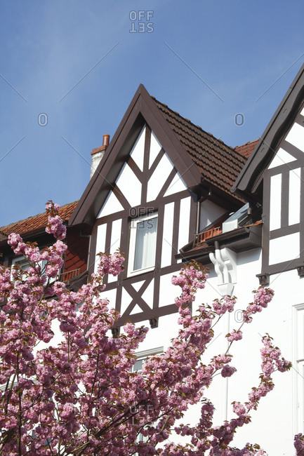Gable, half-timbered gable, old bremen houses in schwachhausen, bremen, Germany, europe